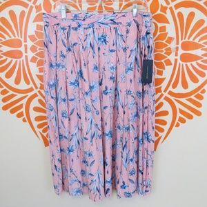 NWT Tommy Hilfiger Striped Floral Flowy Skirt XL